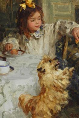 Ölbild Mädchen mit Norwich Terrier