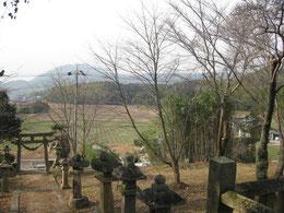 背後の丘から眺めた風景