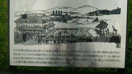 看板明治初期ごろの丸太橋からの眺め