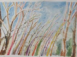 「防風林」にも父がいて、母がいて…と考えるうちに、いろんな色で描きたくなった。
