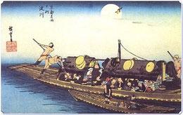 食らわんか船。「酒くらわんか、あん餅くらわんか」と声をかけながら淀川を往来する乗合船の乗客、飲食物などを売った煮売り船。(インタ一ネットから)