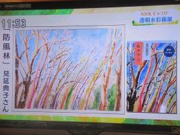 NHK広島「ひるまえ」より      『私のルーツ』表紙原画「防風林」と本