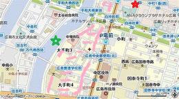 赤印は頼家。緑印は元安川。ピンク印は大手町3、4丁目。当時は干拓前で海であった。