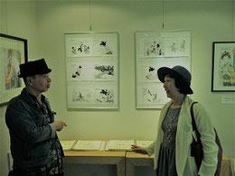 西村先生(左)と時を忘れての語らい。