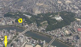 現在の比治山の航空写真(ネットより)   黄〇安養院(現在はない)→の先が頼家