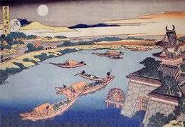 北斎画 三十石船 よどの城
