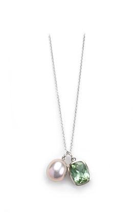 Weissgoldkette mit Perle und Turmalin Anhänger