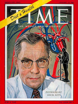 American physiologist Ancel Keys on the cover of Time Magazine in 1961 claiming saturated fats clog arteries and cause heart disease.