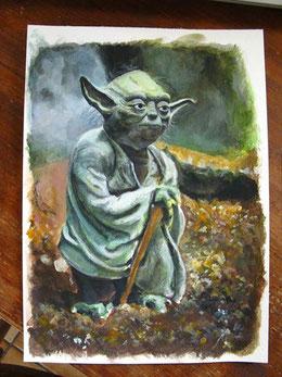 Maitre Yoda - Acrylique