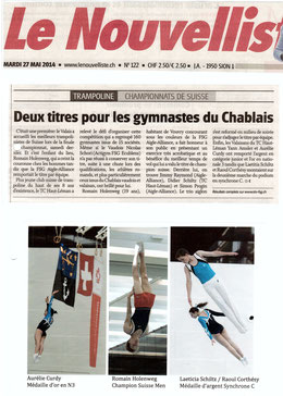 Le Nouvelliste, 27.05.14: Finale suisse à Vouvry