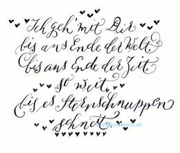 Ein kleiner Text im Stil ModernCalligraphy