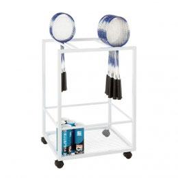 Chariot de rangement de raquettes de badminton à acheter au meilleur prix. Super chariot de rangement de raquettes de badminton de qualité métallique maximum 100 Kg.