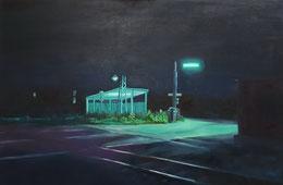 Warte, 2017, 80 x 120 cm, Öl/Leinwand