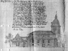 Skizze des geplanten Gemeindehausanbaus