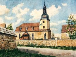 Closewitzer Kirche um 1950 (Zeichnung nach historischer Vorlage von Hans Fischer (1977)