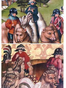 Detailaufnahme des Retabels: Gegenüberstellung der Kamelreiter, oberes Bild Stift Klosterneuburg