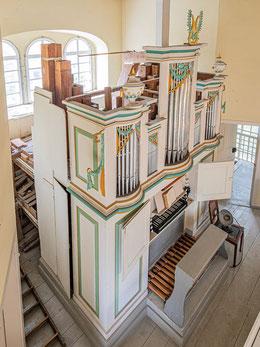 Ungewöhnliche Sicht auf die Poppe-Orgel
