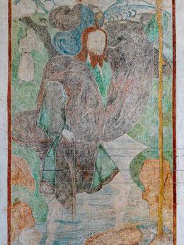 Christophorus mit Christuskind, links Einsiedler mit Laterne