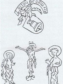 Glockenzeichnungen: Kruzifix, Maria und Johannes, Glockengießerwappen