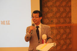 開会の挨拶をする日本技術士会四国本部の右城副本部長