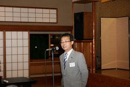 歓迎の挨拶をする高知県技術士会の右城代表幹事