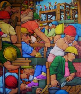 art naïf, peinture naïve, acheter peinture contemporaine, tableau d'art naif, investir oeuvre d'art, investissement oeuvre d'art, galerie peinture naive, peinture naive contemporaine, tableau construction, Pablo Solari, artist Pablo Solari