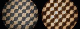 Fig. 2. Punto en la lámina (izquierda) y mismo punto impreso sobre papel (derecha).