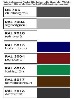 Farbkarte für Fahrradbox, Fahrradgarage, Fahrradboxen, Fahrradaufbewahrung, Fahrradschuppen