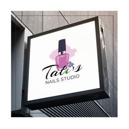 logo Tati`s Nails Studio Design order; creative pink logo design; best nails studio logos design; Tati`s Nails Studio Madrid Spain; PRS LA BEAUTY; LA Beauty Studio; Ukraine;