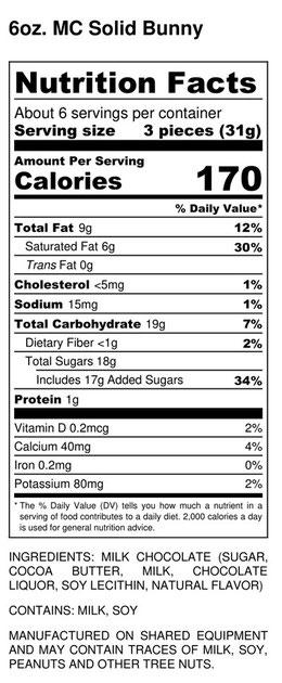 solid bunny nutrition information