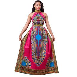 LONUPAZZ Dashiki Robe Longue Femme Africain Sans Manches 556