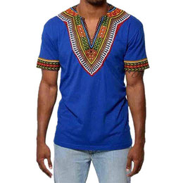 Bluestercool T-Shirt Hommes Slim Col en V Africain 75566