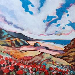 Galambos Rita, magyar festő, úton a tengerhez, akrilfestmény, festmény, modern festészet, színes táj, műtárgy, alkonyat, otthon, dekoráció, lakástipp, Vorarlberg, Ausztria