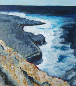 """Dancing Ledge #3"" 27.5 x 30.5cm mixed media on cradled board. DL03mm"