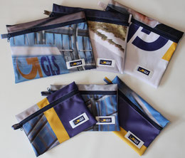 Upcycling-Etuis und Recycling-Etuis aus alten Fahnenstoffe mit bunten Grafiken. Die perfekten Geschenke für Kunden und Mitarbeiter.