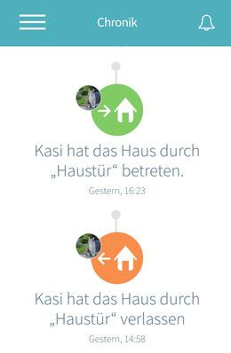 Eine Nachricht auf der Smartphone App verrät, wo sich Kasi gerade befindet