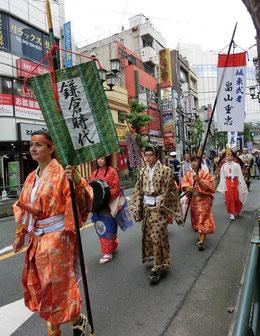 ●国分寺まつりの催し物、「歴史行列」でした。天平、平安、鎌倉、江戸、明治以降と続きます