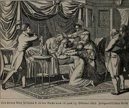 bsonders BAYERISCH Artikel - König Max auf dem Sterbebett im Kreis seiner Familie