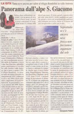 Gita n. 9 del 2014 ALPE SAN GIACOMO