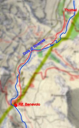 Primo giorno Thumel m. 1879 - Rifugio Benevolo m. 2285