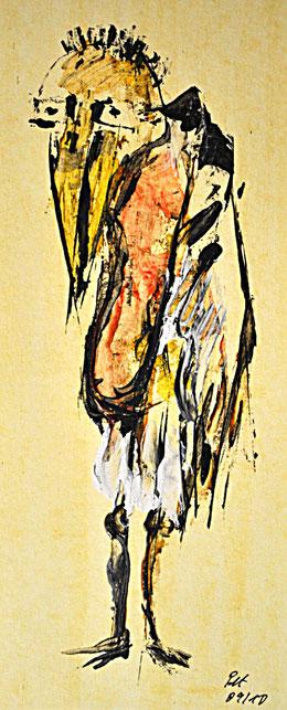 Porträt des Künstlers als Marabu ______________ Acryl auf Karton  2010  32x13cm