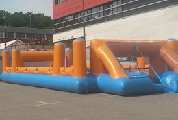Torwand aufblasbar mieten Menschenkicker Riesenkicker Frankfurt Verleih Fussball Human Table Soccer Verleih