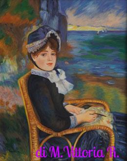 In riva al mare, copia d'autore A. Renoir olio su tela cm 40x50 anno 2015