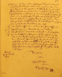 Brief von Arp Schnitger, 1710