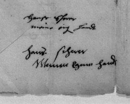 Unterschriften von Hans Scherer Vater und Sohn (Vertrag für die Schlosskapelle Brake bei Lemgo)