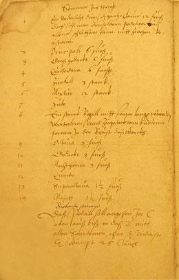 Urdispositionskonzept der Scherer-Orgel, 1572, S. 1