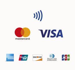Bild mit verschiedenen Kreditkartensymbolen, wie Visa und Mastercard, das auf Kartenzahlung hinweist