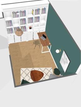 Aménagement d'un palier à l'étage en bureau/bibliothèque