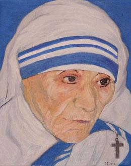 """Ölbild von Mutter Teresa. Gemalt von einem Obdachlosen für das """"Haus Betlehem"""" der Schwestern von Mutter Teresa in Hamburg, Wikipedia"""
