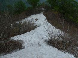 ▲6合目と5合目の間の残雪。危険はあまりありませんが、登りはルートを見失わないように注意が必要。